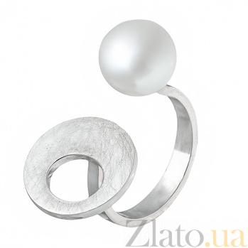 Серебряное кольцо с жемчугом Лунное мерцание Б2-Ж