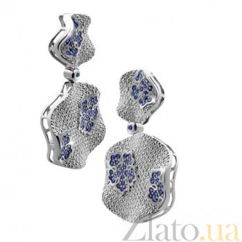 Золотые серьги с бриллиантами и сапфирами Снежинка KBL--С2321