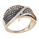 Кольцо в красном золоте Фантастика с бриллиантами