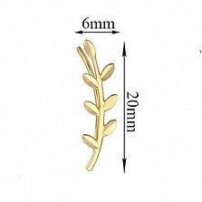 Серьги-каффы Ветка мимозы в желтом золоте