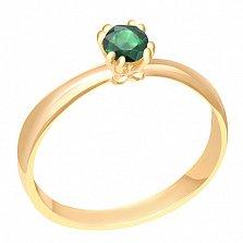 Кольцо в желтом золоте Инесса с изумрудом