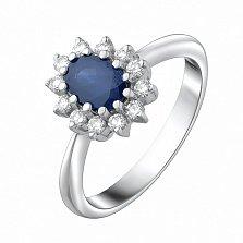 Золотое кольцо Гаррата в белом цвете с сапфиром и бриллиантами