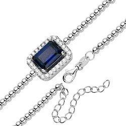 Серебряный браслет с сапфиром и цирконием 000123152