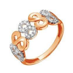 Золотое кольцо в комбинированном цвете с фианитами 000127999