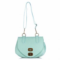 Кожаная сумка на каждый день Genuine Leather 8618 голубого цвета с клапаном на механическом замке