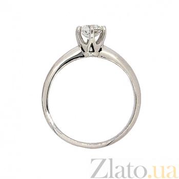 Золотое кольцо в белом цвете с бриллиантом Дарсия 000021485