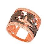Кольцо из красного золота Львица с цирконием