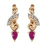 Серьги из красного золота с рубинами и бриллиантами Генриетта