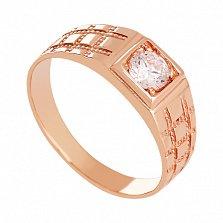 Золотое кольцо с фианитом Бастион