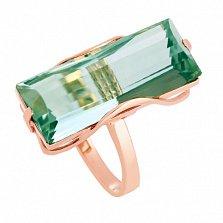 Золотое кольцо Хищница с синтезированным аметистом