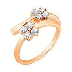 Позолоченное серебряное кольцо с фианитами 000028189