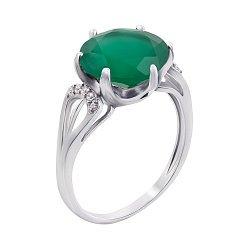 Серебряное кольцо с зеленым агатом 000010800
