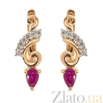 Серьги из красного золота с рубинами и бриллиантами Генриетта ZMX--EDR-5595_K