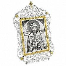 Серебряная икона Святой князь Димитрий Донской