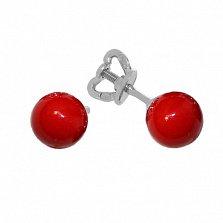 Серебряные серьги-пуссеты Дикси с красным кораллом