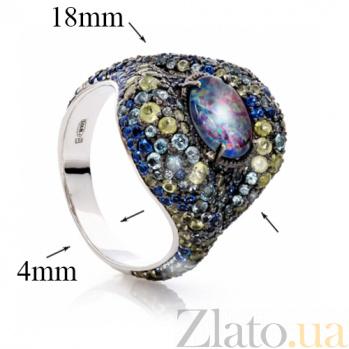 Серебряное кольцо с опалом, топазами и хризолитами Космикс 000013597
