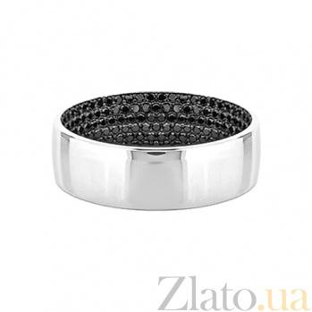 Золотое кольцо с черными бриллиантами Лунная ночь 000029666
