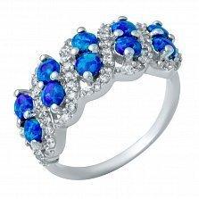 Серебряное кольцо Ариадна с опалом и фианитами