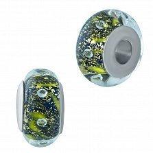 Серебряный шарм Лорелея с зеленым муранским стеклом