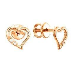Золотые серьги-пуссеты с фианитами Сердечки 000036546