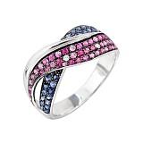 Золотое кольцо с цветными сапфирами Безмятежность