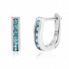 Сережки из серебра Грета с голубым цирконием