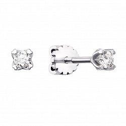 Серьги-пуссеты из белого золота с бриллиантами 000104225
