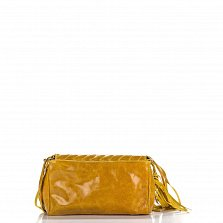 Кожаный клатч Genuine Leather 1301 темно-желтого цвета с бахромой и строчками