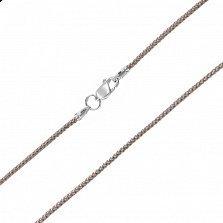 Бежевый плетеный шелковый шнурок Енисей с серебряным замком, 2мм