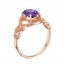 Золотое кольцо Каролина в красном цвете с аметистом и фианитами
