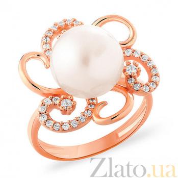 Золотое кольцо с жемчужиной и фианитами Софи SUF--153218