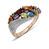 Кольцо из красного золота Николь с голубым топазом, аметистом и бриллиантами