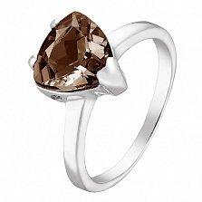 Серебряное кольцо Верди с коньячным раухтопазом