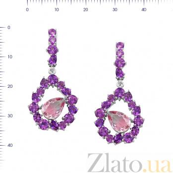Серебряные серьги-подвески Инесса с аметистами и фиолетовым алпанитом 000081872