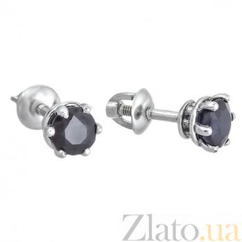 Серебряные пуссеты с сапфиром Лея 2091/9р сапф5