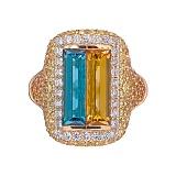 Золотое кольцо с сапфирами и бриллиантами Patria