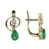 Золотые серьги с бриллиантами и изумрудами Виталия