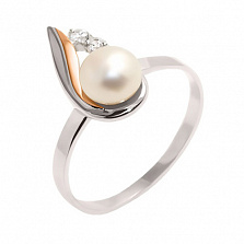 Серебряное кольцо с золотой вставкой, жемчугом и фианитами Премьера