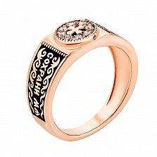Золотое кольцо-печатка Сила в вере с фианитами и чернением
