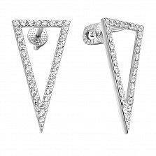 Серебряные серьги-пуссеты Удлиненные треугольники с дорожками белых фианитов