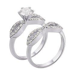 Серебряное наборное кольцо с фианитами 000136008