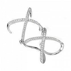 Серебряное бандажное кольцо с фианитами 000028078