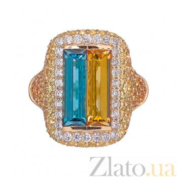 Золотое кольцо с сапфирами и бриллиантами Patria 1К113-0196