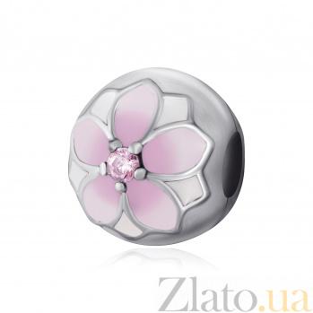 Серебряный шарм-клипса Запах магнолии с розовой эмалью и цирконием 000078616