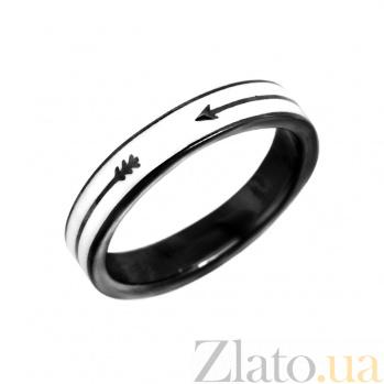 Серебряное кольцо Стрела с черной эмалью 000081558