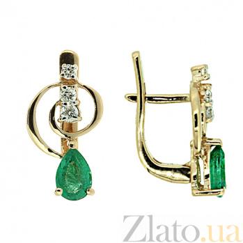 Золотые серьги с бриллиантами и изумрудами Виталия ZMX--EDE-5603_K