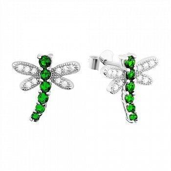 Серебряные серьги с зеленым цирконием Стрекозы 000039774