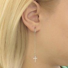 Серебряные серьги-протяжки Крестик с кристаллами циркония