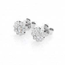 Серьги-пуссеты из белого золота Камилла с бриллиантами