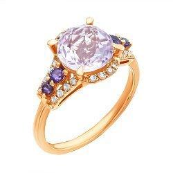 Кольцо из красного золота с аметистами и бриллиантами 000139381